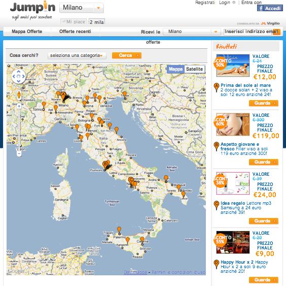 La mappa delle offerte su Jumpin