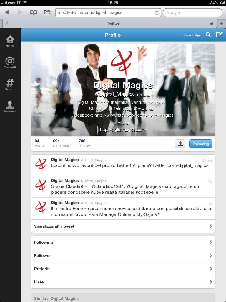profilo Twitter di Digital Magics con nuovo header