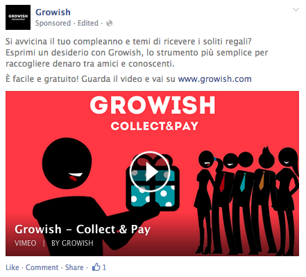 Growish Birthday Page Post Ad