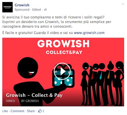 Growish Birthday Page Post Ad