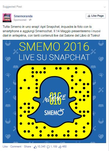 smemochat Smemoranda su Snapchat