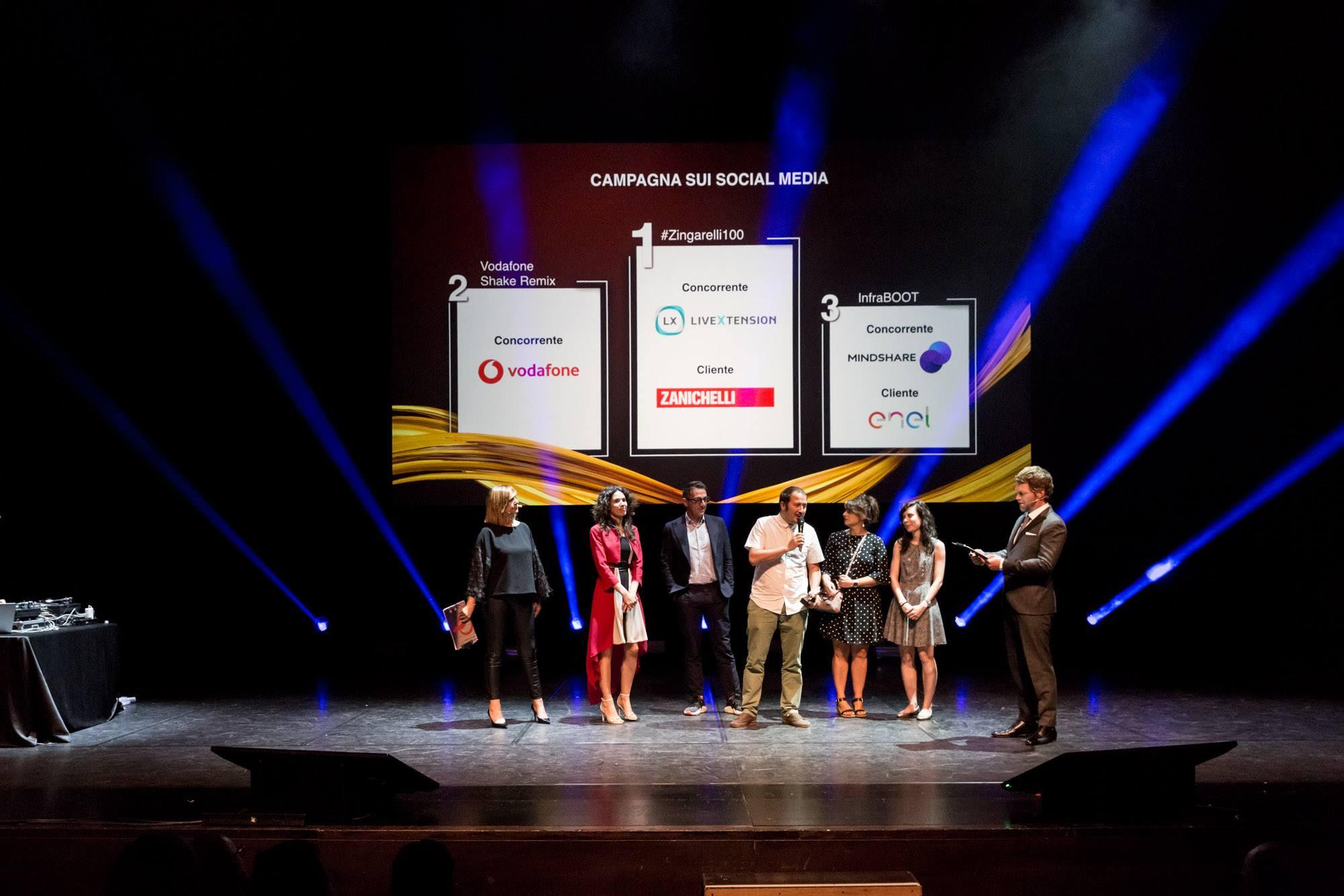 premiazione campagna sui Social Media NC Awards 2018. Zanichelli & LiveXtension